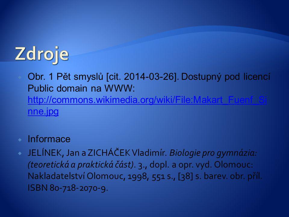 Zdroje Obr. 1 Pět smyslů [cit. 2014-03-26]. Dostupný pod licencí Public domain na WWW: http://commons.wikimedia.org/wiki/File:Makart_Fuenf_Sinne.jpg.